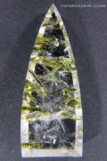 Quartz cabochon with Epidote inclusions, Brazil.  54.28 carats.  ** SOLD **